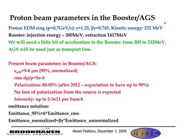 Proton beam parameters in the Booster/AGS