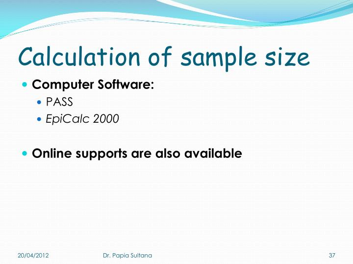 Calculation of sample size