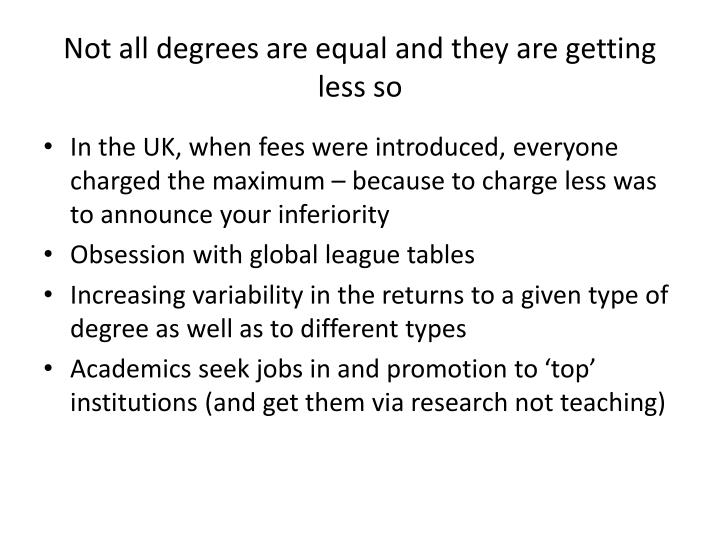 Not all degrees are equal and they are getting less so