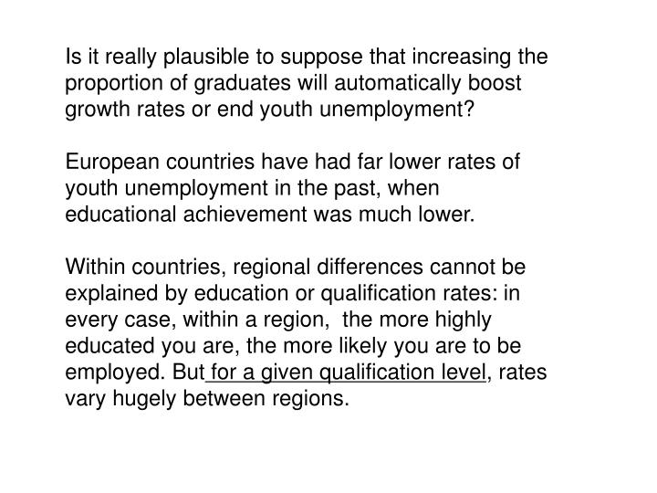 Is it really plausible to suppose that increasing the proportion of graduates will automatically boost growth rates or end youth unemployment?