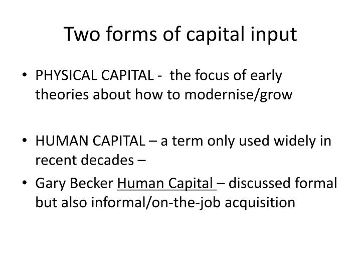 Two forms of capital input