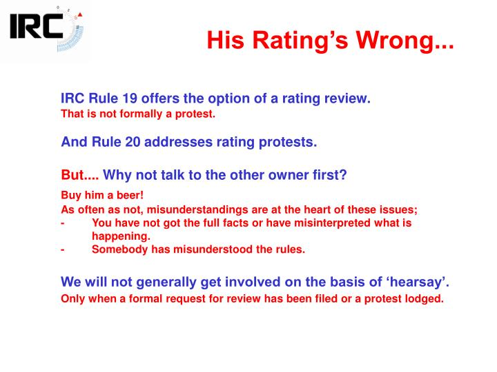 His Rating's Wrong...