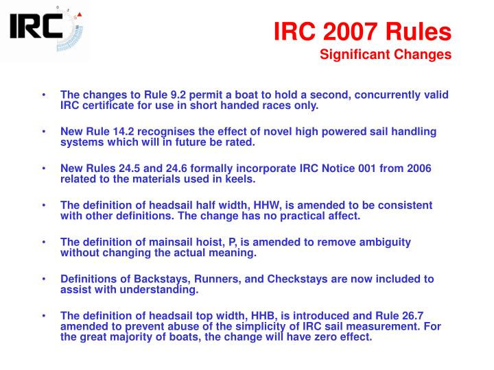 IRC 2007 Rules