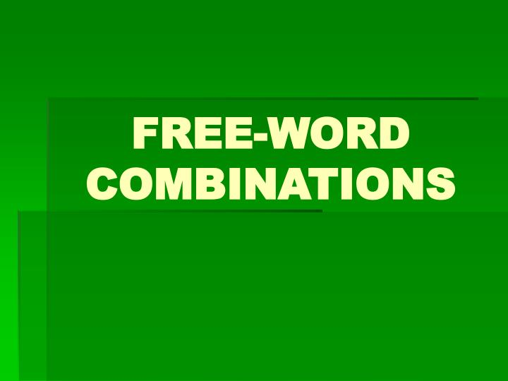 free word combinations n.