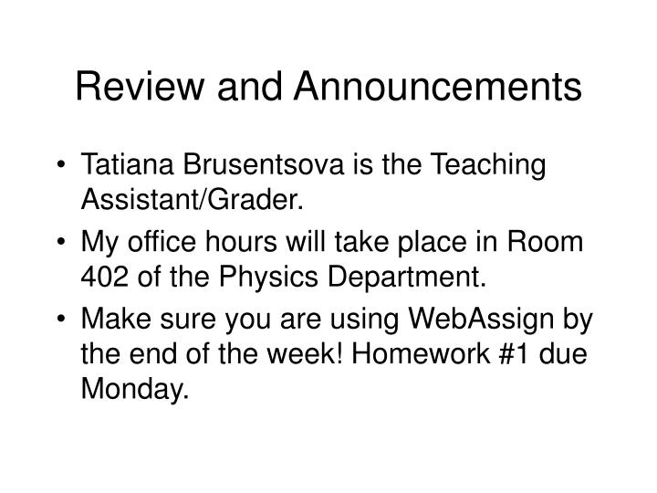 review and announcements n.