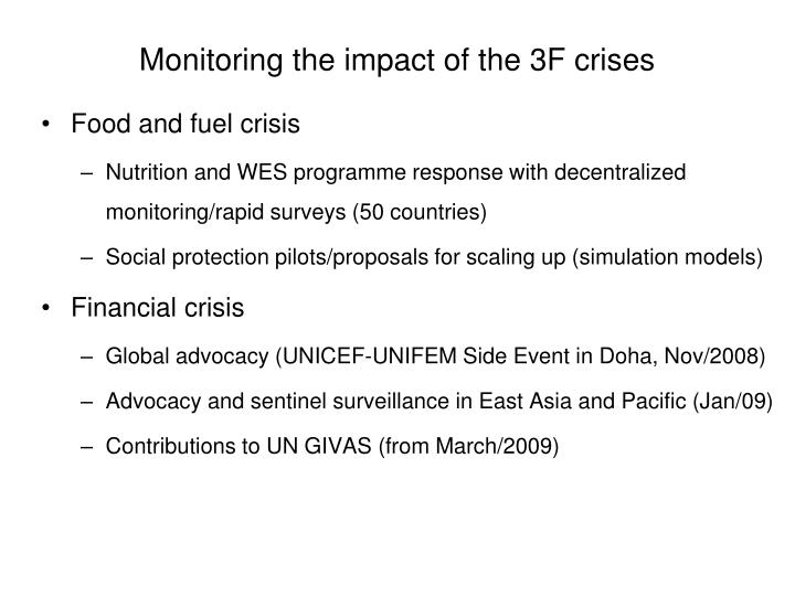 Monitoring the impact of the 3f crises