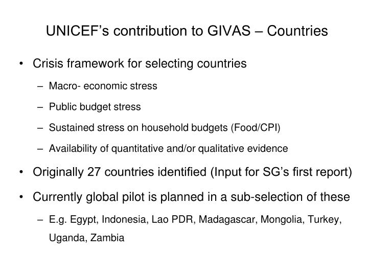 UNICEF's contribution to GIVAS – Countries