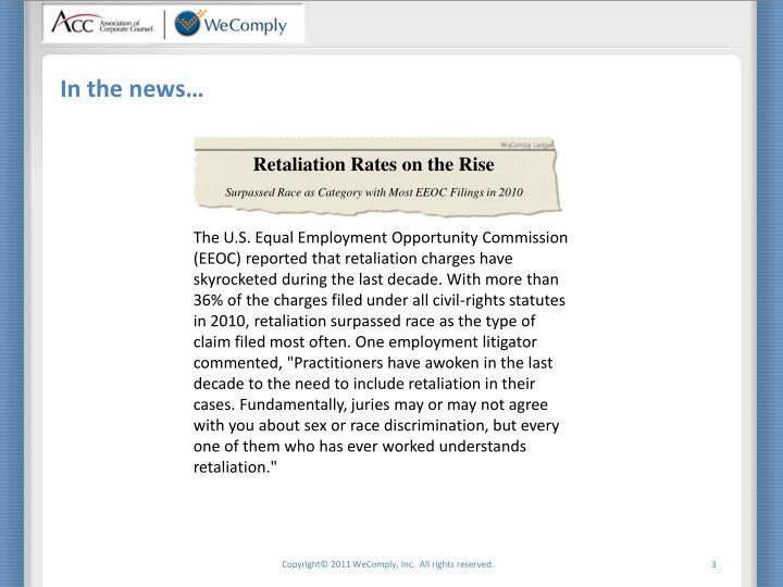 Retaliation rates on the rise