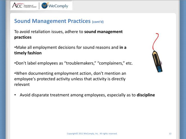 Sound Management Practices
