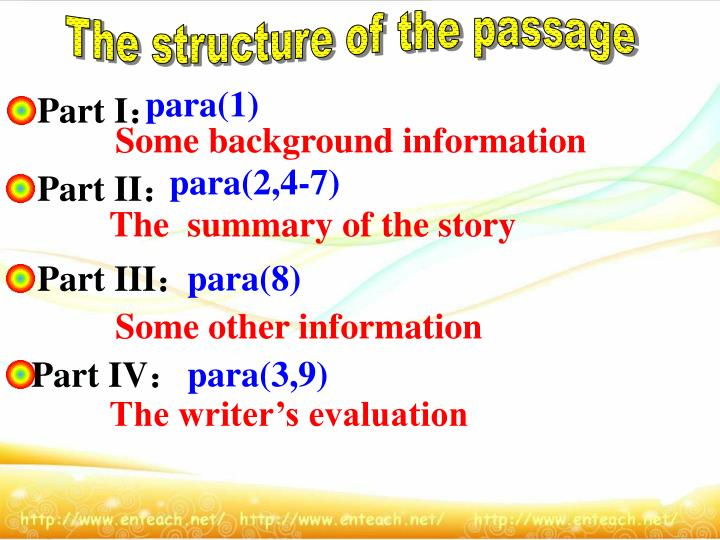 The structure of the passage