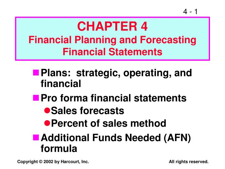 chapter 4 financial planning and forecasting financial statements n.