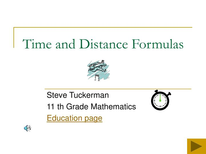 time and distance formulas n.