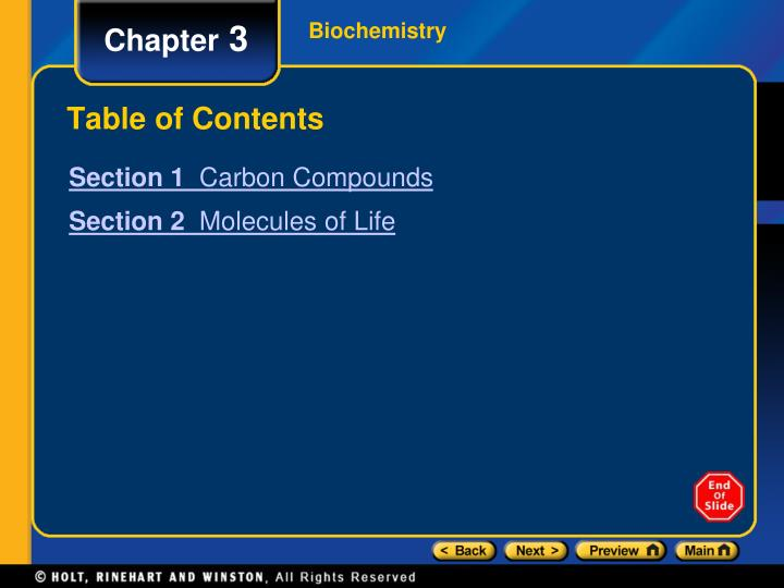 table of contents n.