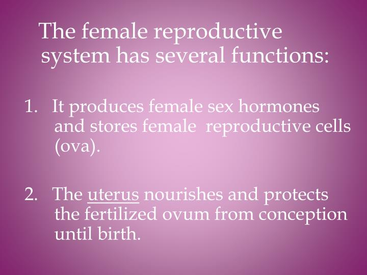 The female reproductive system has several functions: