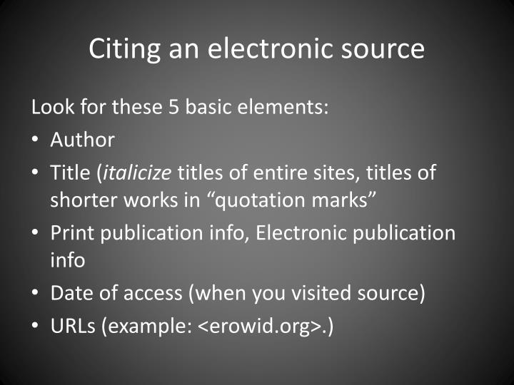 Citing an electronic source