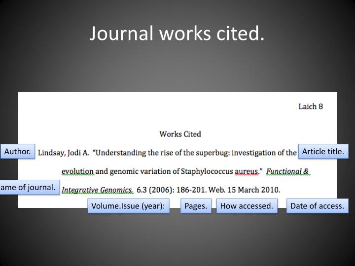 Journal works cited.