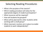 selecting reading procedures