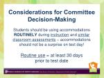 considerations for committee decision making