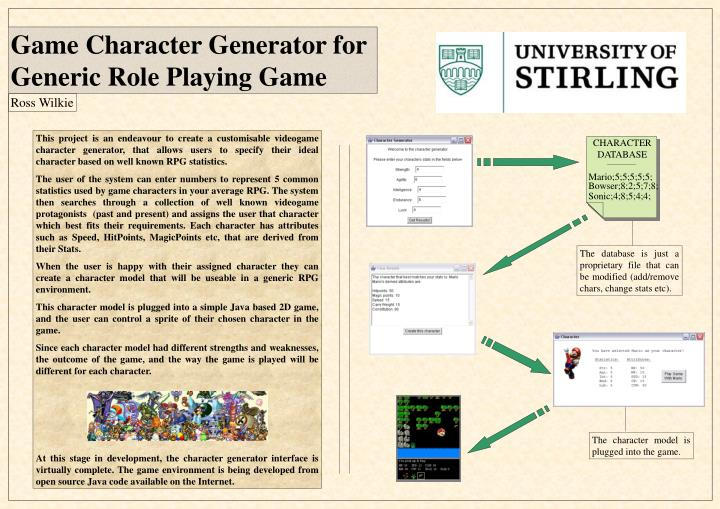 PPT - Game Character Generator for Generic Role Playing Game