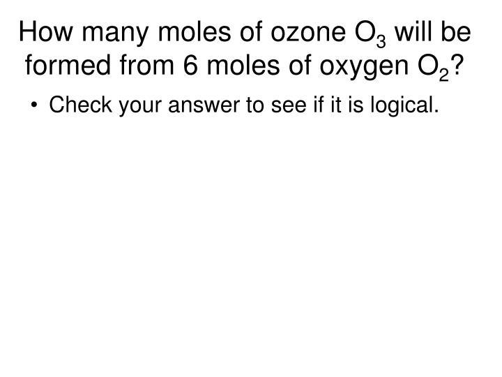 How many moles of ozone O
