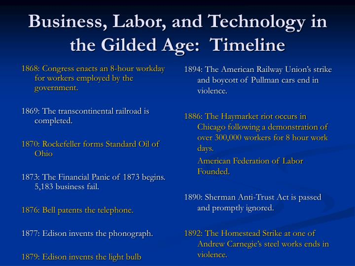 Ppt Business Labor And Technology In The Gilded Age