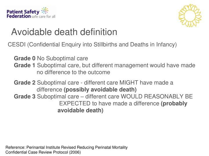 Avoidable death definition