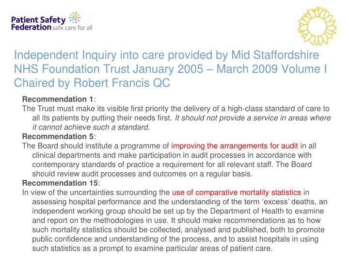 Independent Inquiry into care provided by Mid Staffordshire NHS Foundation Trust January 2005 – Ma...