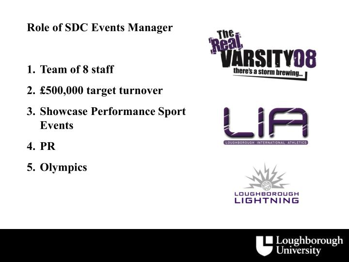 Role of SDC Events Manager