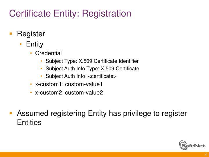 Certificate Entity: Registration