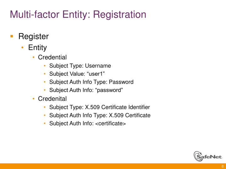 Multi-factor Entity: Registration