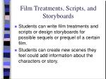 film treatments scripts and storyboards