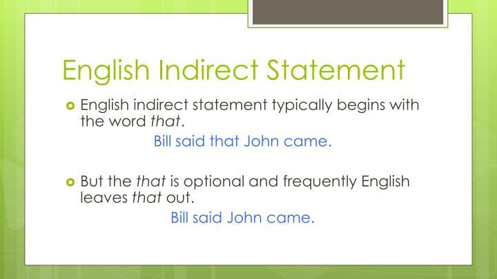 English Indirect Statement