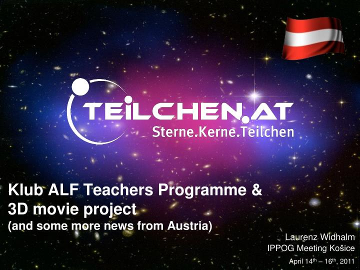 klub alf teachers programme 3d movie project and some more news from austria n.