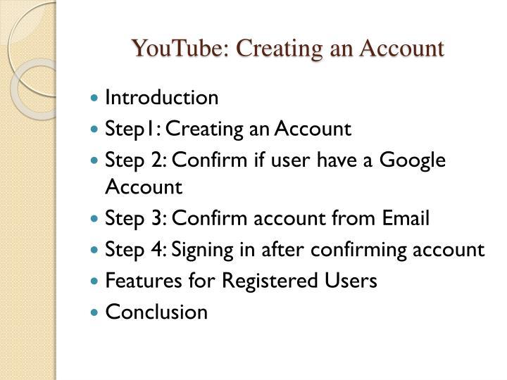 Youtube creating an account