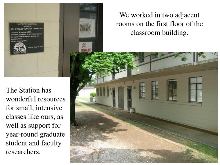 We worked in two adjacent rooms on the first floor of the classroom building.