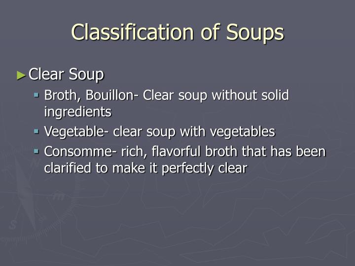 Classification of soups