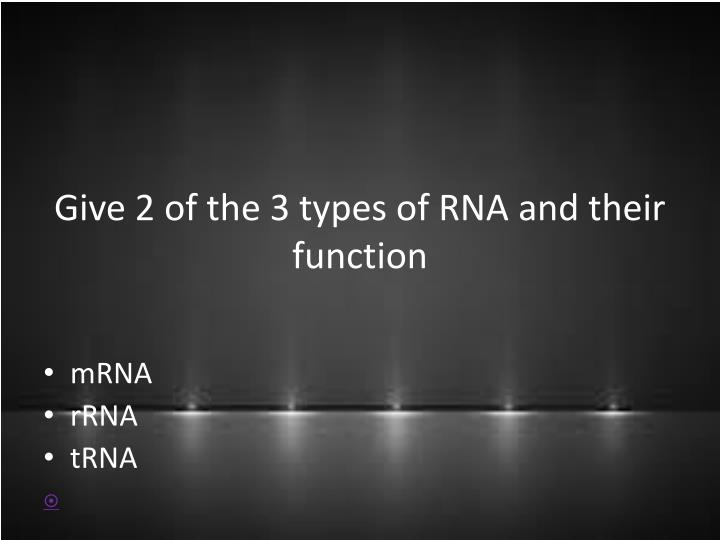 Give 2 of the 3 types of RNA and their function