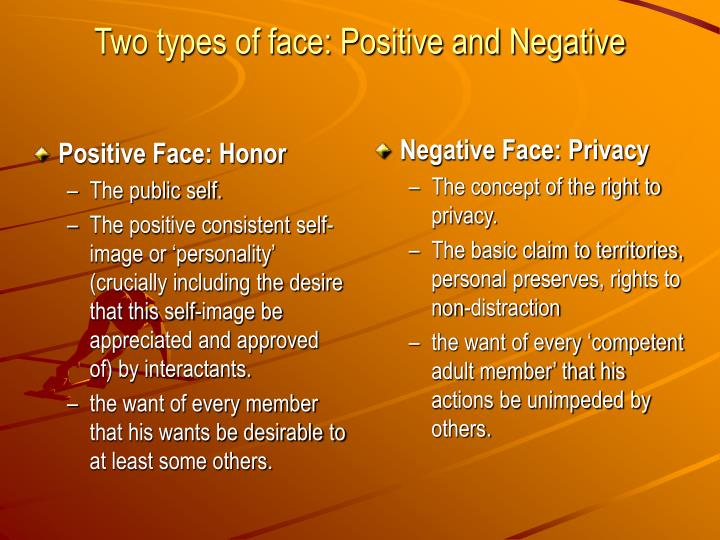 positive and negartive face