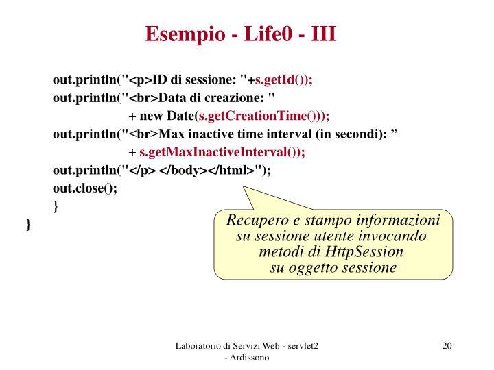 Esempio - Life0 - III