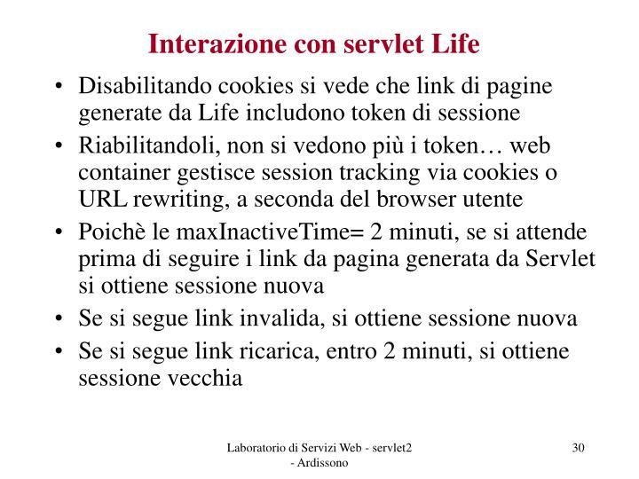 Interazione con servlet Life