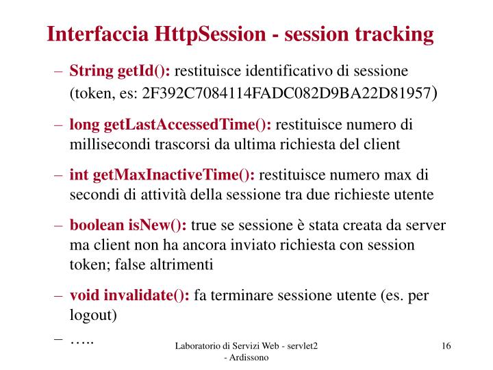 Interfaccia HttpSession - session tracking