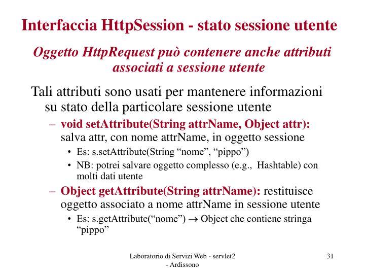 Interfaccia HttpSession - stato sessione utente