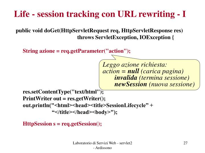 Life - session tracking con URL rewriting - I