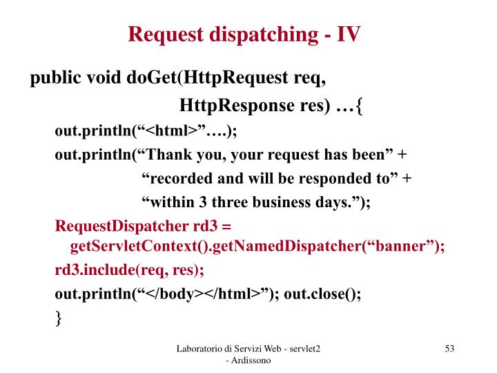 Request dispatching - IV