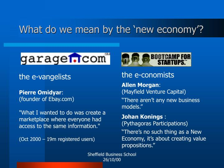 What do we mean by the 'new economy'?