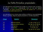 la tabla periodica propiedades