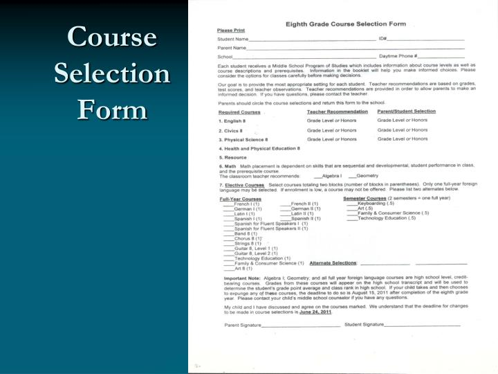 Course Selection Form