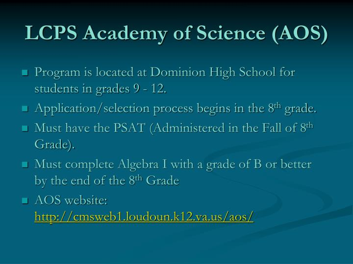 LCPS Academy of Science (AOS)