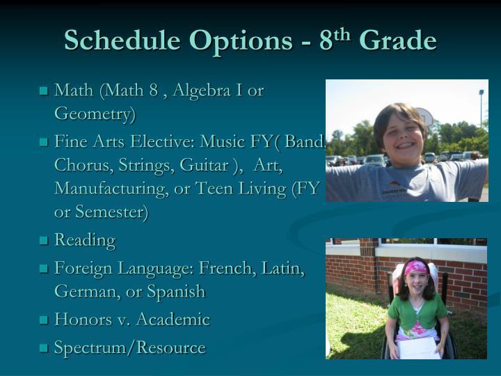 Schedule Options - 8