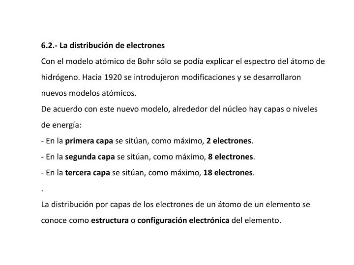 6.2.- La distribución de electrones